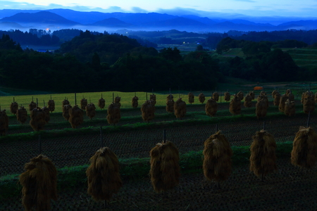 The rice terraces of oshu city, Iwate Prefecture Stock Photo
