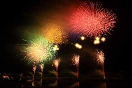 Kitakami Michinoku Performing Arts Festival fireworks display Stockfoto