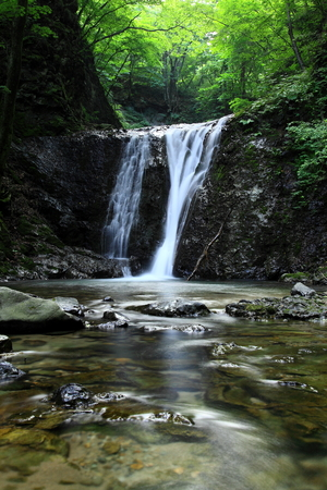 waterfall in forest of Nishiwaga area