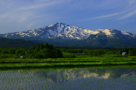 Cyoukai mountain with rural scenery in countryside, Akita Prefecture