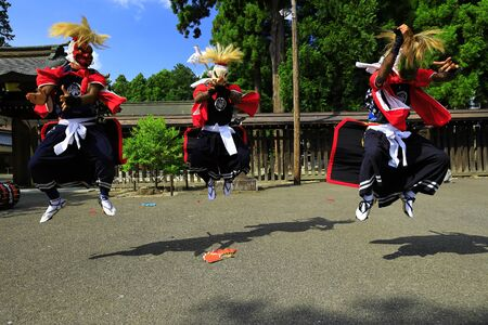 Iwate Prefectural Folk Performing Arts OnikenMai Banque d'images - 129405014