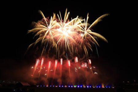 Summer Fireworks in Hanamaki City, Iwate Prefecture Stockfoto - 129402887