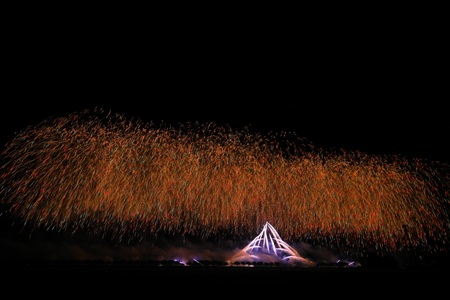 Akita Omagari Fireworks Competition Stockfoto - 133987100