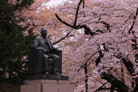 Statue at Mizusawa Park in Spring