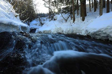 Winter Mountain Stream, Nishiwaga Town, Iwate Prefecture Stock fotó