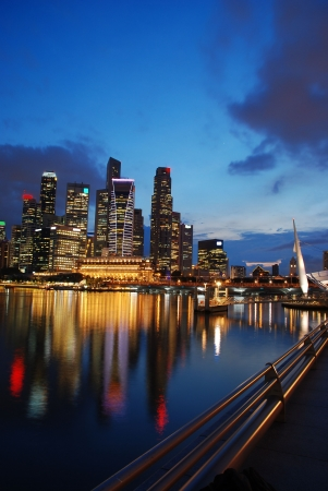 singapore building: Singapore buisiness district in the evening Stock Photo