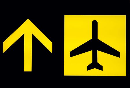 departure board: View of departure signboard in balck background at airport Stock Photo