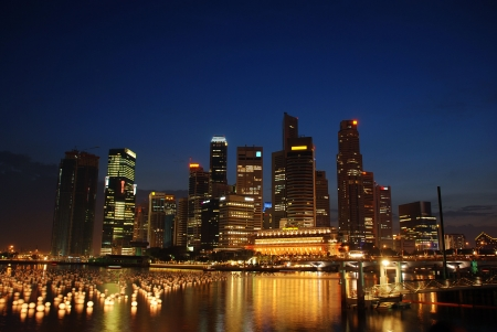 Singapore city at evening photo