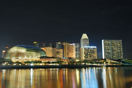 Singapore City at Night Stock Photo - 4173194