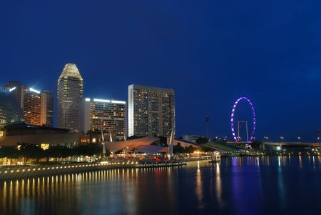 singapore city: View of a singapore city in the evening Stock Photo