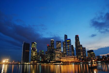 buisiness: View of Singapore buisiness district in the evening