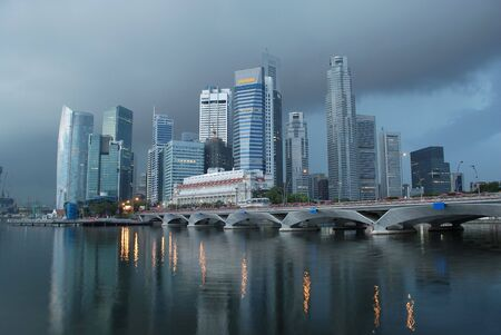 singapore city: View of  singapore city in the morning rainy day Stock Photo