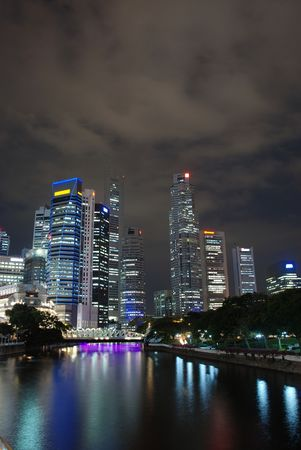 buisiness: View of Singapore buisiness district in the night Stock Photo