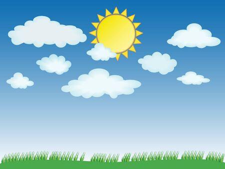 Vector illustration of summer - sun, grass, clouds Stock Illustration - 4625037