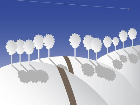 Theme of winter land with path and plane in vector illustration. illustration