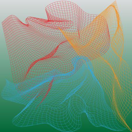 Abstract nets, vector illustration on green background illustration