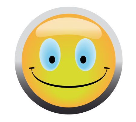 Happy smile button on blue background Stock Photo - 4624991