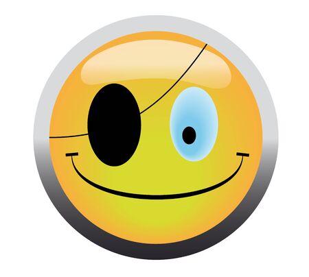 Pirate smile button on white background Stock Photo - 4624995