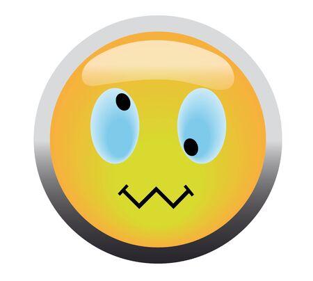 Cross-eye smile button on blue background Stock Photo - 4624989