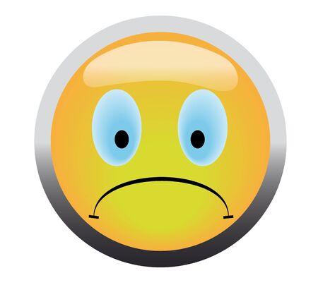 Unhappy smile button on blue background Stock Photo - 4624990