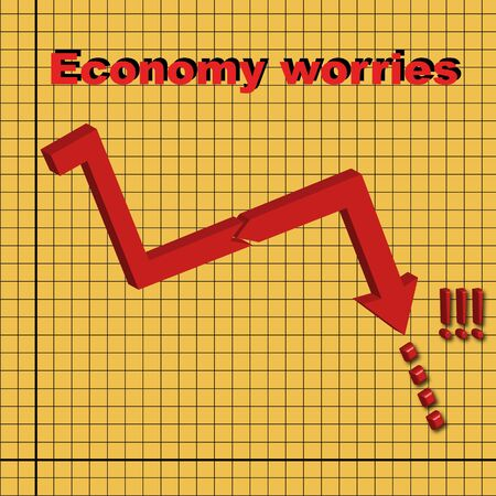3D chart - worries about world economy. photo