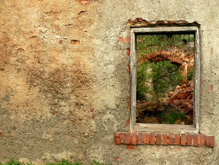 The wall and window in ruined  old house. Stock Photo - 4710625