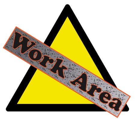 worksite: Warning sign of work area - illustration.