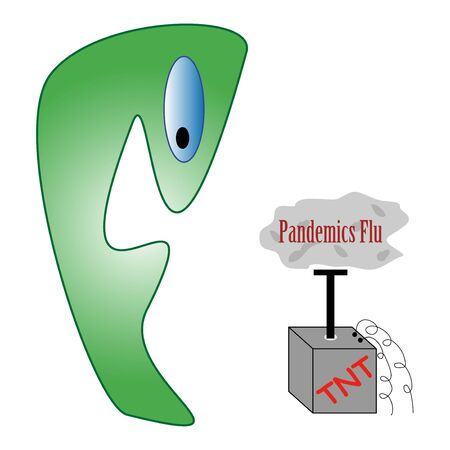 Funny caricature of Pandemics flu danger - illustration Stock Illustration - 4775193