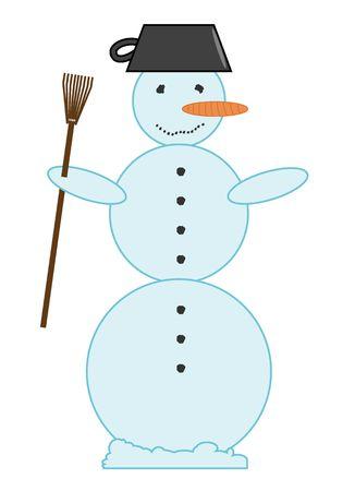 Cartoon illustration of Snowman on white background. Stock Illustration - 4967929