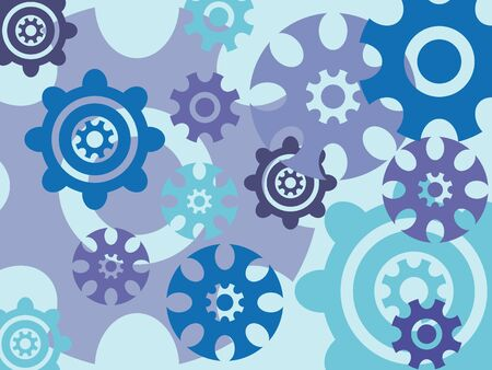 Abstract cogwheels on blue background - illustration. illustration