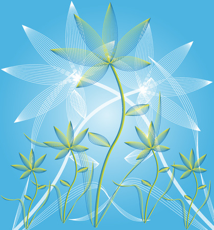 Abstract flowers on blue background - vector illustration. Stock Vector - 6268651