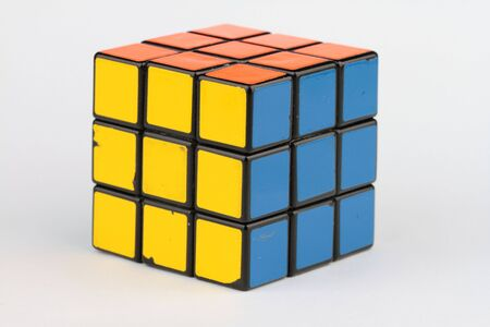 The old Rubiks cube on white background.