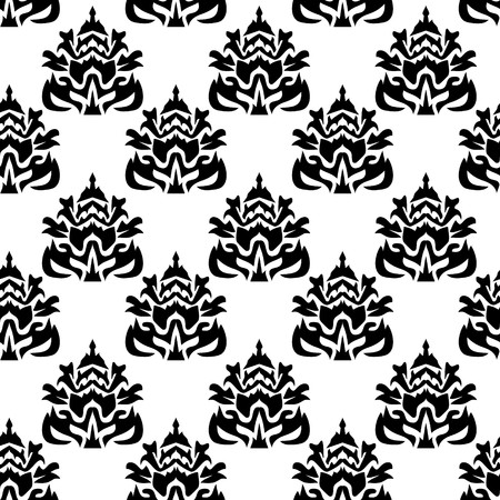 Abstract seamless pattern black on white background - vector illustration. You can use it to fill your own background. Easy editable colors.