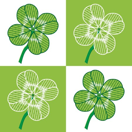 lucky day: A luck four leaf seamless -  illustration. You can use it to fill your own background. Illustration
