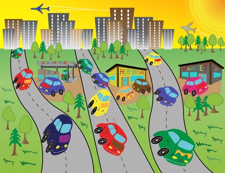 Summer escape from overheated town by cars. Illustration