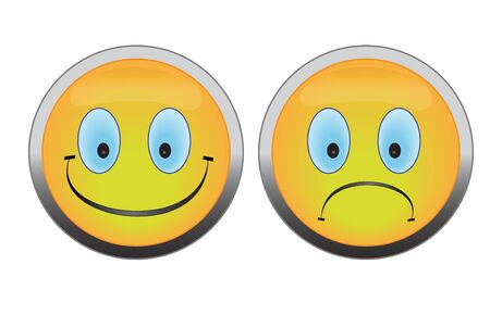 friendliness: Happy and unhappy smile buttons on white background.