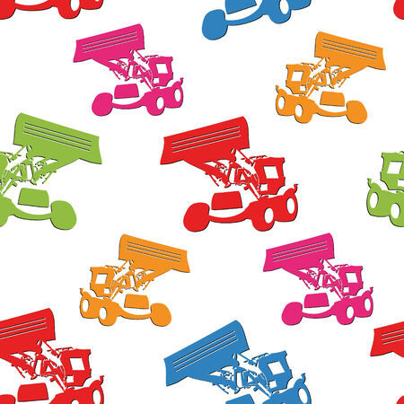 Abstract colored seamless pattern with tractors on white background . You can use it to fill your own background. Vector