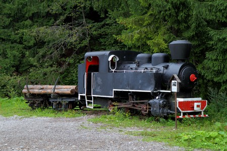 Historical steam train with woods in wagon. photo