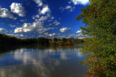 Beautiful autumnal lake in sunny day in HDR. Stock Photo - 7883247