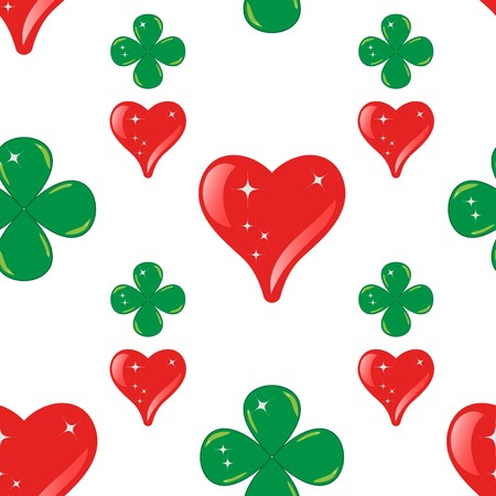Abstract seamless pattern made from hearts and clovers for background - vector illustration. You can use it to fill your own background. Stock Vector - 8097556
