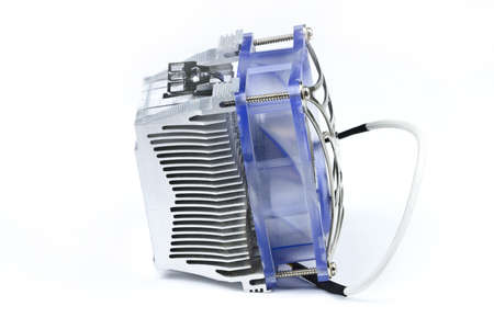Detail of processor (CPU) cooler on white background. photo