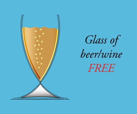 Glass of beerwine on blue background - vector illustration.