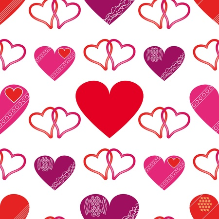 Seamless of red hearts for Valentine day on white background - vector illustration.You can use it to fill your own background.