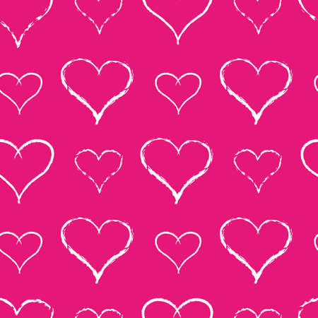 Seamless of white hearts for Valentine day on pink background - vector illustration.You can use it to fill your own background. Illustration