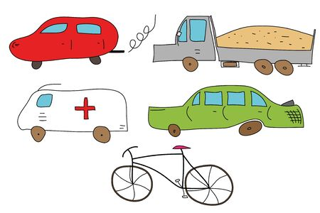 Abstract vehicles (cars, truck and bike)  - vector illustration.  Vector