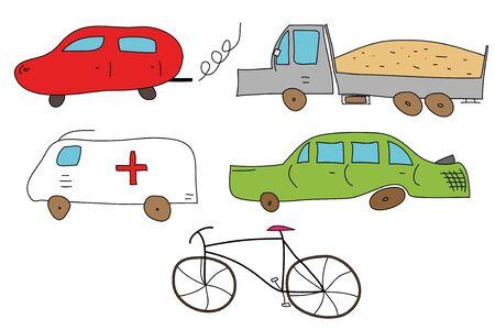 bike vector: Resumen de veh�culos (autom�viles, camiones y bicicleta) - ilustraci�n vectorial.