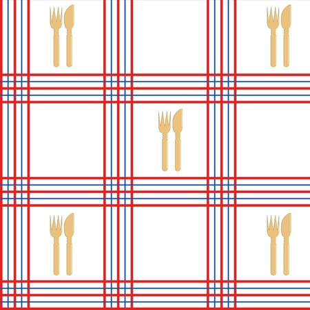 Tablecloth seamless , red and blue lines with knife and fork - vector illustration. You can use it to fill your own background. Vector