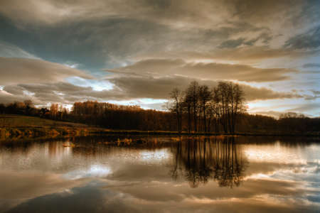 Beautiful autumnal pond before sunset. Stock Photo - 8969892