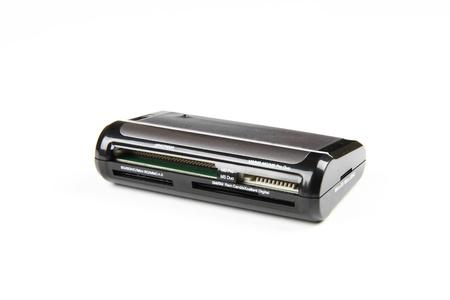 gigabytes: Close-up of USB card reader isolated on white background.