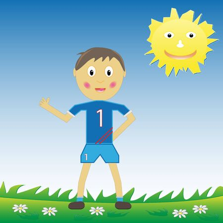 Young boy cartoon character wearing his soccer kit. Vector